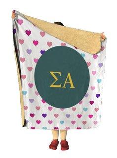 Sigma Alpha hearts Sherpa Lap Blanket