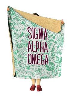 Sigma Alpha Omega Floral Sherpa Lap Blanket