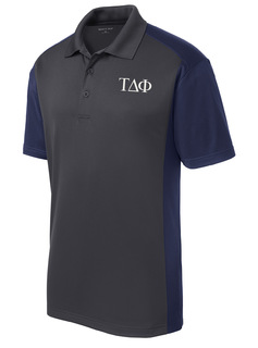 Tau Delta Phi- $30 World Famous Greek Colorblock Wicking Polo