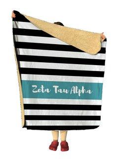 Zeta Tau Alpha Stripes Sherpa Lap Blanket