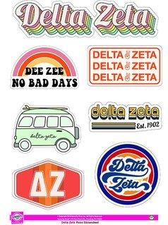 Delta Zeta Retro Sticker Sheet