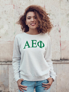 Alpha Epsilon Phi Arched Greek Lettered Crewneck Sweatshirt