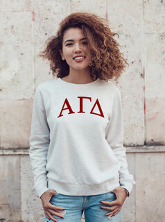 Alpha Gamma Delta Arched Greek Lettered Crewneck Sweatshirt