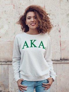 Alpha Kappa Alpha Arched Greek Lettered Crewneck Sweatshirt