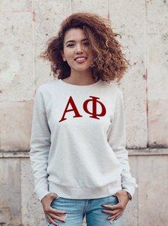 Alpha Phi Arched Greek Lettered Crewneck Sweatshirt