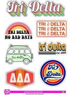 Delta Delta Delta Retro Sticker Sheet