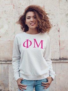 Phi Mu Arched Greek Lettered Crewneck Sweatshirt