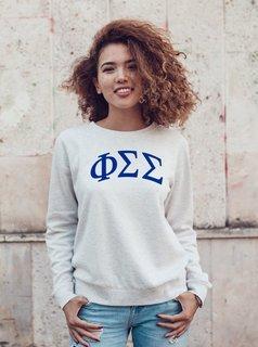 Phi Sigma Sigma Arched Greek Lettered Crewneck Sweatshirt