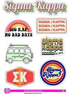 Sigma Kappa Retro Sticker Sheet
