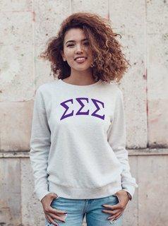 Sigma Sigma Sigma Arched Greek Lettered Crewneck Sweatshirt