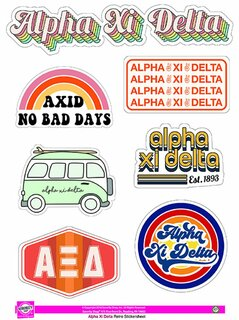 Alpha Xi Delta Retro Sticker Sheet