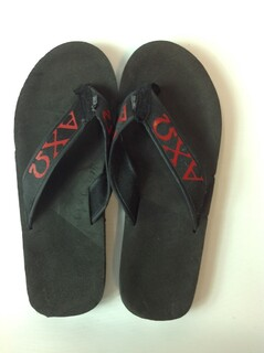 Super Savings - Alpha Chi Omega Flip Flops - Black/Black