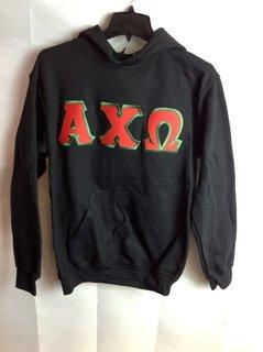 Super Savings - Alpha Chi Omega Lettered Hooded Sweatshirt - Black