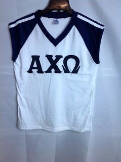 Super Savings - Alpha Chi Omega Lettered V-Neck Tank - White
