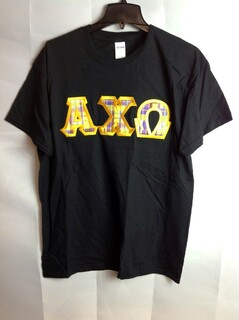 Super Savings - Alpha Chi Omega Plaid Lettered T-Shirt - Black