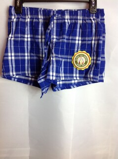Super Savings - Alpha Chi Omega Seal Emblem Plaid Pajamas Shorts - Blue