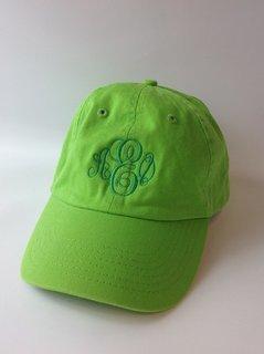 Super Savings - Alpha Epsilon Phi Script Monogram Cap - LIME GREEN w GREEN LETTERS