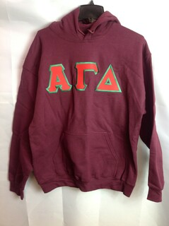 Super Savings - Alpha Gamma Delta Lettered Hooded Sweatshirt - Maroon