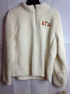 Super Savings - Alpha Gamma Delta Sherpa One Fourth Zip Pullover - Natural