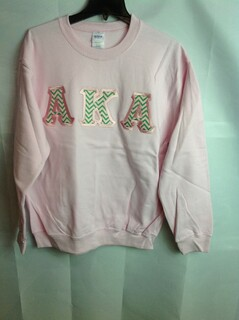 Super Savings - Alpha Kappa Alpha Chevron Lettered Crewneck - Pink - M - 3 of 5