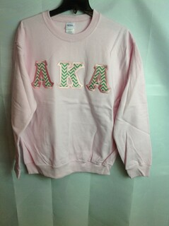 Super Savings - Alpha Kappa Alpha Chevron Lettered Crewneck - Pink - S - 2 of 4