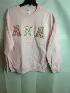 Super Savings - Alpha Kappa Alpha Chevron Lettered Crewneck - Pink - S - 3 of 4
