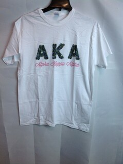 Super Savings - Alpha Kappa Alpha Garland Letter T-Shirt - White