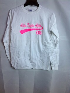Super Savings - Alpha Kappa Alpha Tail Long Sleeve Tee - White