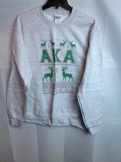 Super Savings - Alpha Kappa Alpha Ugly Christmas Sweater Crew Neck - Gray