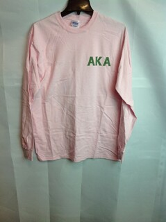 Super Savings - Alpha Kappa Alpha World Famous Crest Long Sleeve T-Shirt - Pink - M
