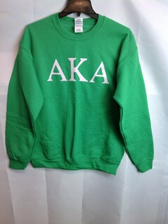 Super Savings - Alpha Kappa Alpha World Famous Letter Crewneck - Green