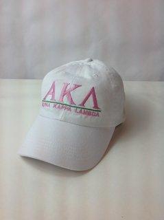 Super Savings - Alpha Kappa Lambda World Famous Line Hat 2 of 4 - WHITE w PINK LETTERS