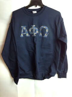 Super Savings - Alpha Phi Omega Fraternity Crest - Shield Crewneck - Navy