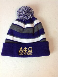 Super Savings - Alpha Phi Omega Greek Comeback Beanie - Purple - Gray - White