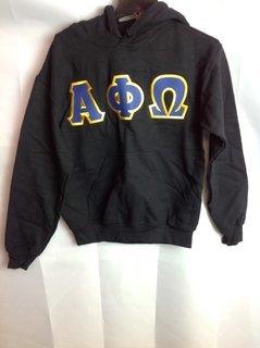Super Savings - Alpha Phi Omega Lettered Hooded Sweatshirt - Black