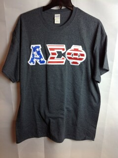 Super Savings - Alpha Sigma Phi Greek Letter American Flag Long Sleeve Tee - Charcoal Gray