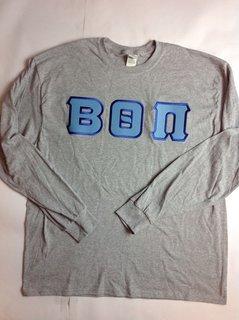 Super Savings - Beta Theta Pi Lettered Long Sleeve T-Shirt - GREY