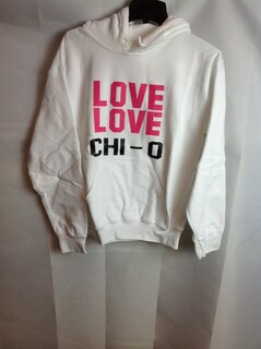 Super Savings - Chi Omega Love Love Hooded Sweatshirt - White