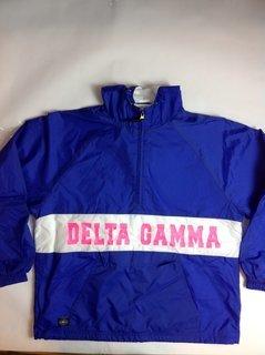 Super Savings - Delta Gamma Charles River Custom Strip Greek Pullover Anorak - ROYAL