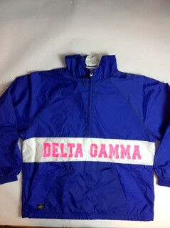 Super Savings - Delta Gamma Charles River Custom Strip Greek Pullover Anorak - ROYAL