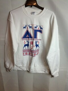 Super Savings - Delta Gamma Ugly Christmas Sweater Crewneck - White - 1 of 4