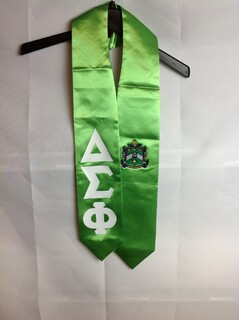 Super Savings - Delta Sigma Phi Graduation Stole with Crest - Shield - Lime Green