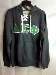 Super Savings - Delta Sigma Phi Lace Up Pullover Hooded Sweatshirt - Gray