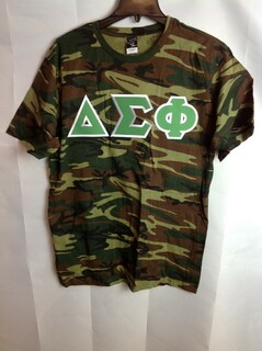 Super Savings - Delta Sigma Phi Lettered Camouflage T-Shirt - Military Camo