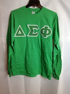 Super Savings - Delta Sigma Phi Lettered Long Sleeve Tee - Kelly Green