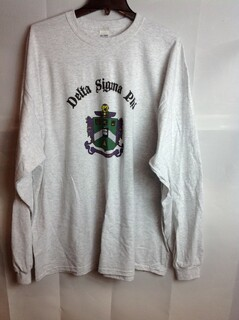 Super Savings - Delta Sigma Phi Vintage Crest - Shield Long Sleeve Tee - Gray