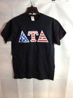 Super Savings - Delta Tau Delta American Flag Greek Lettered Tee - Black