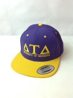Super Savings - Delta Tau Delta (University of Michigan) Flatbill Snapback Hat - PURPLE GOLD w GOLD LETTERS