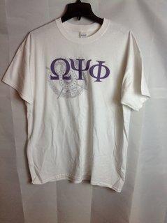 Super Savings - Omega Psi Phi Greek Crest Shield Tee - White