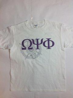 Super Savings - Omega Psi Phi Greek Crest - Shield T-Shirt - WHITE